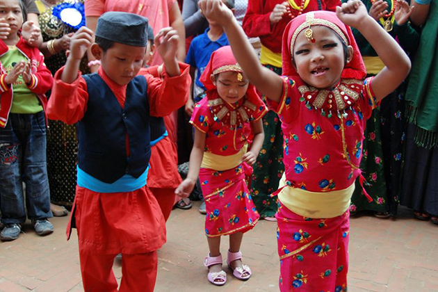 Nepal Children in Traditional Outfit