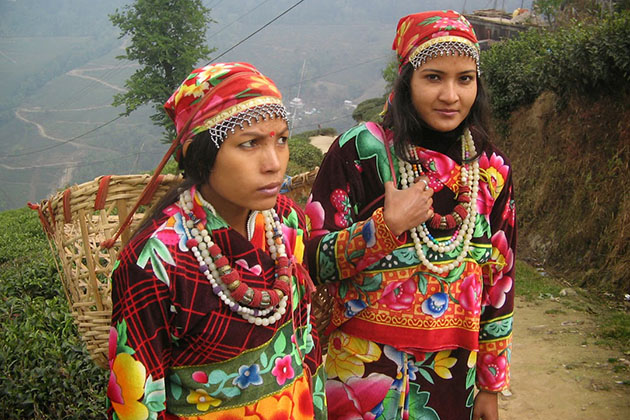 Nepal ethnic girls in traditional dress