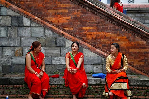 Nepal women in traditional clothing Kurta Suruwal