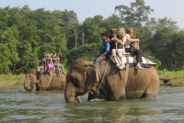 Elephant ride in Chitwan National Park